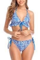 CharmLeaks Women Ruffle Bikini Swimsuits Adjustable Strap Bathing Suits Two Piece