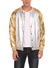 COOFANDY Men's Metallic Nightclub Jacket Slim Fit Zip Up Varsity Baseball Bomber Shiny Party Dance Disco Jackets