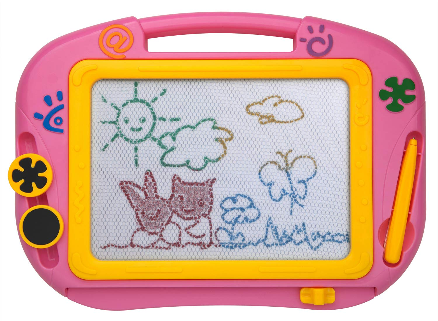 ikidsislands IKS88P [Travel Size] Color Magnetic Drawing Board for Kids, Doodle Board for Toddlers, Sketch Pad Toy for Little Girls (Pink)