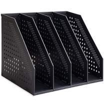 SAYEEC Desktop File Magazine Folder Holder 4 Section Plastic Hollow Documents Foldable Organizer File Cabinet Shelf Frames Dividers Rack Display and Storage (Black)