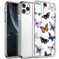 SPEVERT iPhone 11 Pro Max Case 6.5 inches, Flower Pattern Printed Clear Design Transparent Hard Back Case with TPU Bumper Cover for iPhone 11 Pro Max Case 6.5 inches 2019 Released - Butterfly