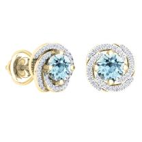 Dazzlingrock Collection 18K 6 MM Each Round Gemstone & White Diamond Ladies Halo Style Stud Earrings, Yellow Gold