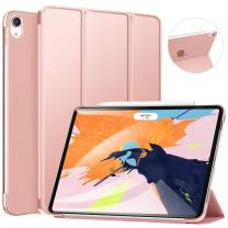 ZtotopCase for iPad Pro 12.9 Inch 2018 (3rd Gen) - Slim Tri-fold Stand Cover with Auto Wake/Sleep and Hard Translucent Back Cover for 3rd Generation iPad Pro 12.9 Inch 2018 Released,Rose Gold