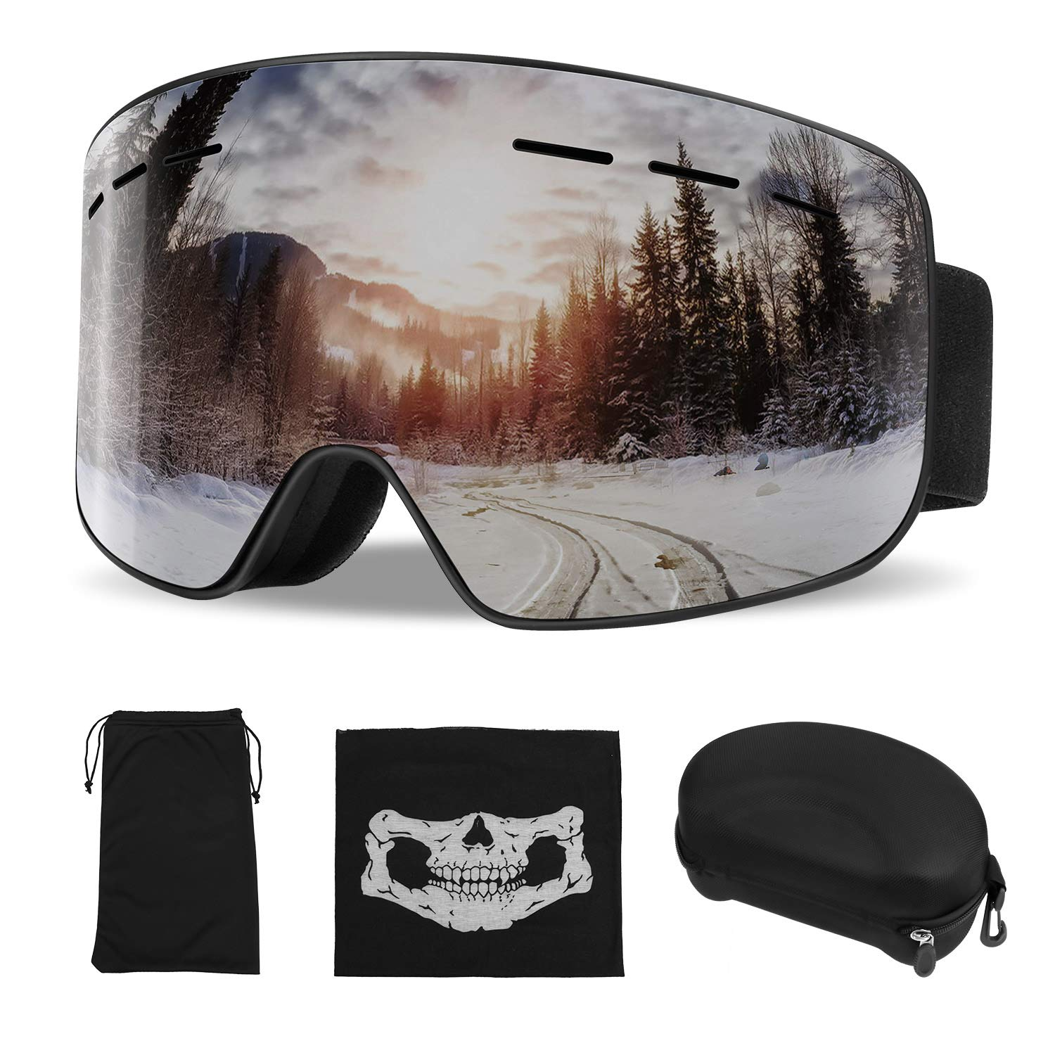 ActionEliters Ski Goggles,Snow Snowboard Snowboarding Goggles Over Glasses Helmet Compatible with Dual Layers Lens Anti-Fog UV Protection for Men,Women,Youth,Boys&Girls