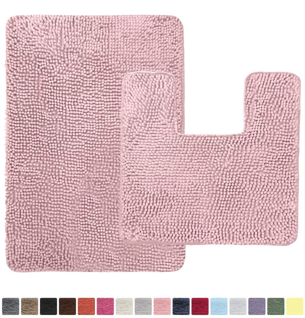 Gorilla Grip Original Shaggy Chenille 2 Piece Area Rug Set, Includes Square U-Shape Contour Toilet Mat & 30x20 Bathroom Rugs, Machine Wash/Dry Mats, Soft Plush Rugs for Shower, Bath Room, Light Pink