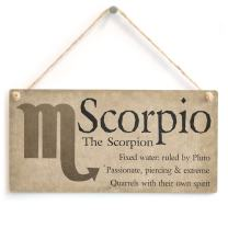 "Meijiafei Scorpio The Scorpion - Beautiful Spiritual Gift Astrology Sign of The Zodiac Plaque 10"" X 5"""