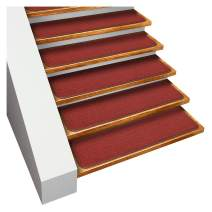 House, Home and More Set of 15 Skid-Resistant Carpet Stair Treads - Brick Red - 8 Inches X 30 Inches