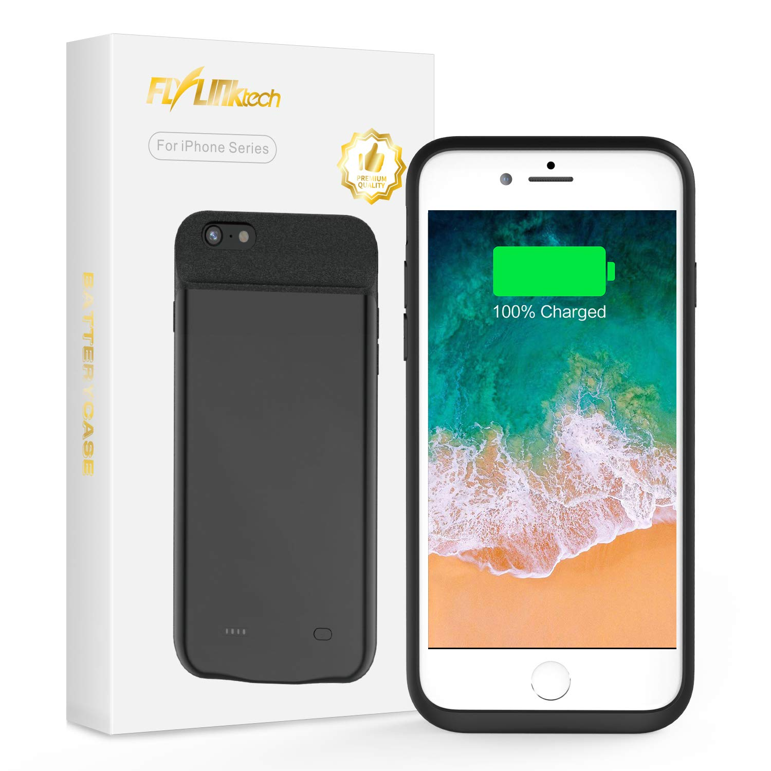 FLYLINKTECH for iPhone 6 Plus/6s Plus/7 Plus/8 Plus Battery Case, 8500mAh Portable Protective Charging Case Extended Rechargeable Battery Pack Charger Case (5.5 inch, Black)