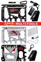 Smart Gift Set of 3-37 in 1 Black Multitool Card & 37 in 1 Silver Wallet Tool Card & 23 in 1 BadBoy Credit Card Tool