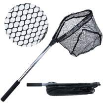 YONGZHI Fishing Net -Foldable Collapsible Telescopic Pole Handle -Durable Nylon Material Mesh-Safe Fish Catching or Releasing Triangular Fish Landing Nets