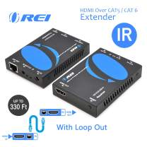 HDMI Extender Over CAT5/CAT6 by OREI with IR Upto 330 Feet - Loop Out - 1080P Full HD Signal Distribution - Over IP