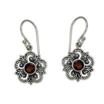 NOVICA Garnet .925 Sterling Silver Dangle Earrings 'Flower of Sumatra'
