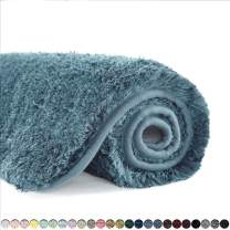 Suchtale Bathroom Rug Non Slip Bath Mat for Bathroom (16 x 24, Slate) Water Absorbent Soft Microfiber Shaggy Bathroom Mat Machine Washable Bath Rug for Bathroom Thick Plush Rugs for Shower