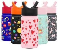 Simple Modern 14oz Summit Kids Water Bottle Thermos with Straw Lid - Dishwasher Safe Vacuum Insulated Double Wall Tumbler Travel Cup 18/8 Stainless Steel - Hearts