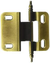 Amerock PKR7687MAE 3/8in (10 mm) Inset Non Self-Closing, Face Mount Antique Brass Hinge - 2 Pack
