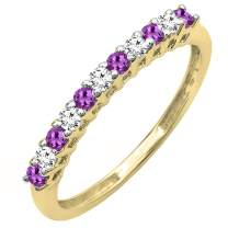 Dazzlingrock Collection 14K Round Gemstone & White Diamond Anniversary Stackable Wedding Band, Yellow Gold