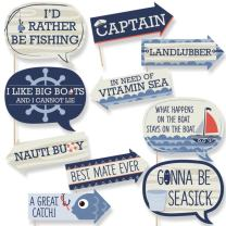 Funny Ahoy - Nautical - Baby Shower or Birthday Party Photo Booth Props Kit - 10 Piece