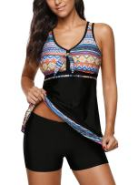 Zando Plus Size Swimsuits for Women Slimming Bathing Suit Two Piece Tankini Top with Boyshort Swimsuit 2 Piece Swimwear