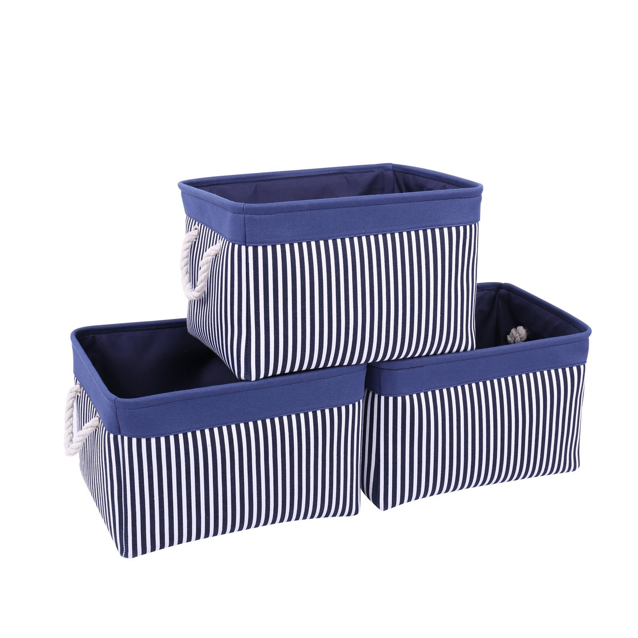 TcaFmac Large Navy Fabric Storage Basket Bin[3-Pack] Collapsible Canvas Storage Containers Organizing Baskets with Rope Handles Baskets for Gifts Empty Baby Basket (Navy Patchwork, 3-Pack)