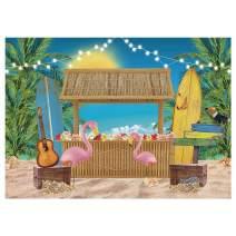 Funnytree 7x5FT Aloha Luau Tiki Bar Party Backdrop Summer Sea Tropical Hawaiian Beach Photography Background Baby Shower Flamingo Palm Tree Flower Surfboard Banner Decoration Supplies Photobooth Prop