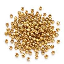Craftdady 200Pcs Golden Tiny Round Ball Spacer Beads 5mm Metal Smooth Rondelle Charm Loose Beads for DIY Jewelry Craft Making with 2mm Hole