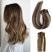 Munx Silky Straight Clip in Human Hair Extensions Highlights Brown Mixed Blonde Clip on Human Hair Extension Straight 100% Real Natural Human Hair Extensions Full Head 7 Pieces 120G for Women and Girl