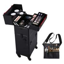 Yaheetech Professional Train Case 3 in 1 Makeup Organizer Large Rolling Cosmetic Case With Makeup Brush Bag Lockable Black Wheel Trolley