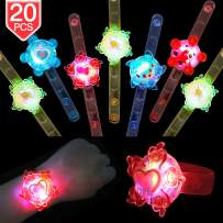 PROLOSO Light Up Bracelet LED Party Favors with Gyroscope Stocking Stuffers Toys for Kids Prizes Glow in The Dark Party Supplies Bulk (20 pcs)