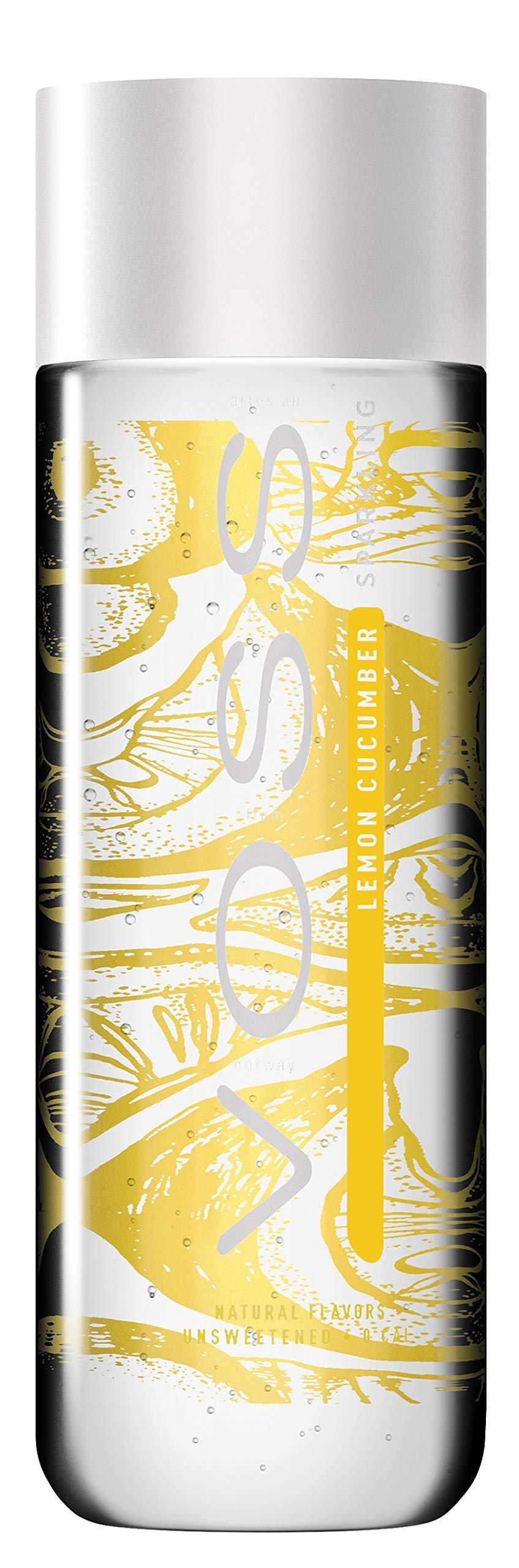 VOSS Artesian Sparkling Water, Lemon Cucumber, 330 ml Plastic Bottles (12 Count)