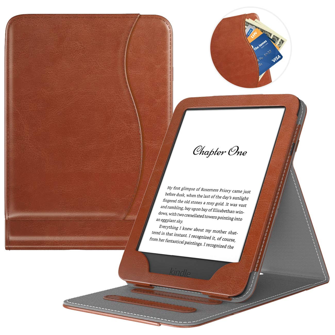 TiMOVO Case Compatible for All-New Kindle (10th Generation, 2019) / Kindle (8th Generation, 2016), Vertical Multi-Viewing Stand Wallet Cover Auto Sleep/Wake, Not Fit Kindle Paperwhite - Brown