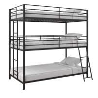 Max & Finn Altona Metal Triple Bunk Bed, Bed for Kids, Twin/Twin/Twin, Black