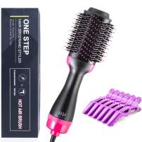 One Step Hair Dryer and Volumizer Styler, UpgradedHot Air Brush Ceramic Electric Blow Dryer 3 in 1 Negative Ion Hair Straightener Curler Brush, with 6 Hair Clips