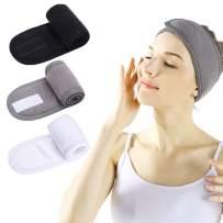 Facial Spa Headband - 3 Pcs Makeup Shower Bath Wrap Sport Headband Terry Cloth Adjustable Stretch Towel with Magic Tape