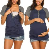 Ekouaer Womens Summer Cotton Nursing Tops for Breastfeeding Tee Shirts Soft Button Down Short Sleeve Maternity T-Shirts