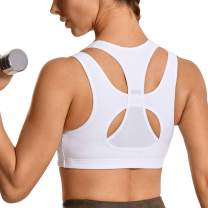 SYROKAN Women's Workout Sports Bra High Impact Support Wirefree Mesh Racerback Top