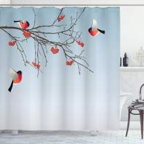 """Ambesonne Rowan Shower Curtain, Bullfinch Birds Flying and on Branches Winter Themed Graphic Design, Cloth Fabric Bathroom Decor Set with Hooks, 70"""" Long, Dark Brown"""