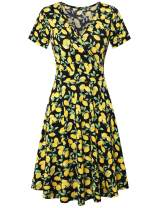 KASCLINO Womens Wrap Dress Short Sleeve,Womens Party Dress High Waisted Flare Dress,Lemon-Black S