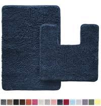 Gorilla Grip Original Shaggy Chenille 2 Piece Area Rug Set, Includes Square U-Shape Contoured Toilet Mat & 30x20 Bathroom Rugs, Machine Wash/Dry Mats, Plush Rugs for Tub Shower & Bath Room, Navy Blue