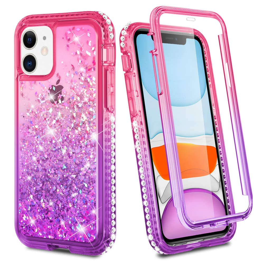 Ruky iPhone 11 Case, iPhone 11 Glitter Case Full Body Rugged Liquid Cover with Built-in Screen Protector Shockproof Protective Phone Case for iPhone 11 6.1 inches 2019 (Pink Purple)