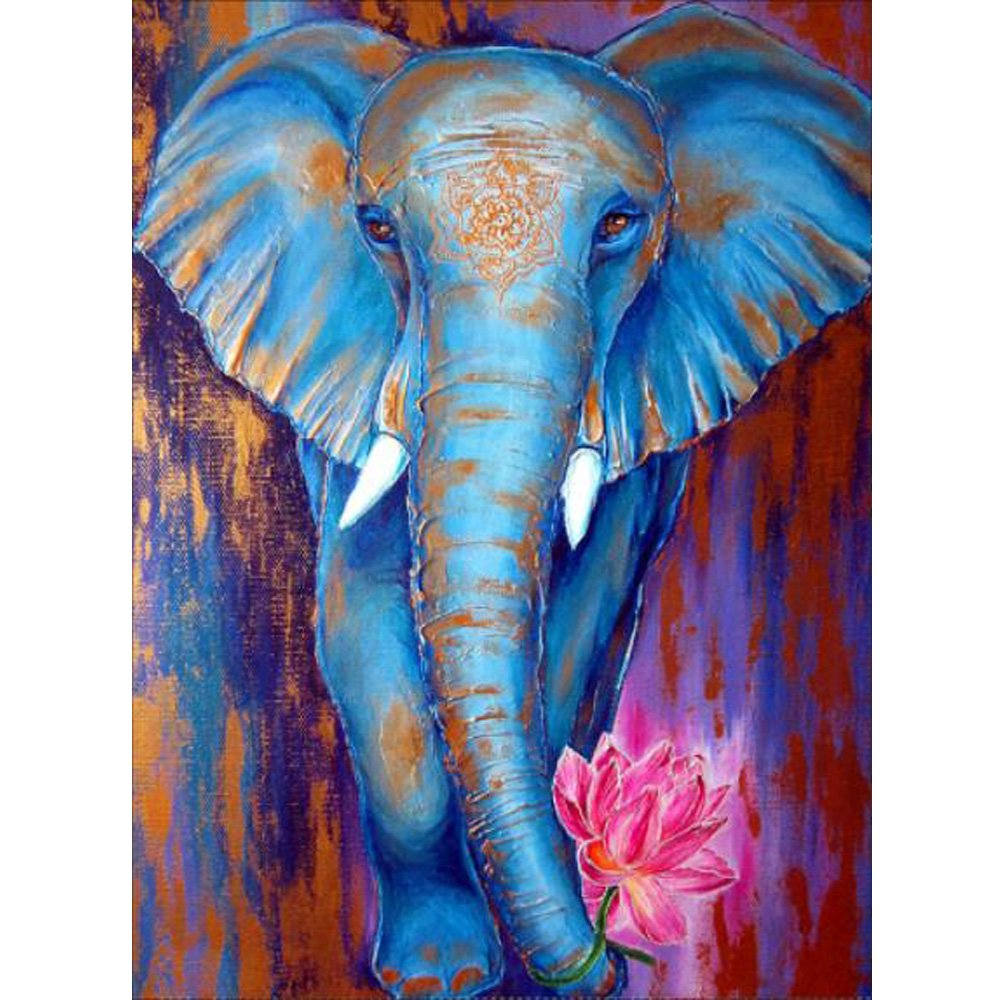 MXJSUA 5D Diamond Painting by Number Kit DIY Full Round Drill Rhinestone Picture Craft Art for Home Wall Decor Blue Elephant 12x16inch