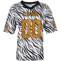 Pullonsy Black Zebra Pattern Custom Football Jerseys for Men Women Youth Embroidered Any Name and Numbers S-8XL