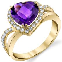 Genuine Amethyst 14K Yellow Gold Leaning Heart-Shaped Ring