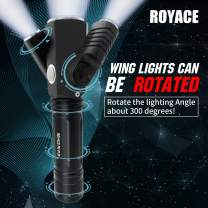 Royace Led Flashlight Small Flashlights,3 in 1 Led Rechargeable Flashlights High Lumens,Tactical Light for Home,Camping, IP65 Water Resistant Torch Light(Rechargeable Battery,Adapter,Holder Included)
