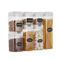 Top Taste Airtight Food Storage Containers set - 7 PC Set -BPA Free Plastic Cereal & Flour Containers with Easy Lock Lids,for Kitchen Pantry Organization and Storage,Include Labels and Marker(White)