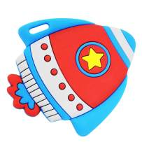 Silli Chews Best Baby Self Soothing Teether Space Rocket Ship Toddler Silicone Teething Toy Infant Pain Relief Soother Red White and Blue Kids Chew Toy