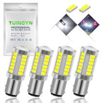 TUINCYN 1157 BAY15D LED Bulb White Brake Light Bulb Super Bright 8000K 5630 33SMD 2057 2357 7528 2057A 1157A 2357A Tail Light Turn Signals Light Back Up Reverse Light Parking Light DC 12V (Pack of 4)