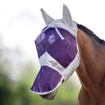 Harrison Howard CareMaster Horse Fly Mask Long Nose with Ears UV Protection for Horse Silver/Purple Retro