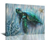 """Arjun Canvas Sea Turtle Wall Art Prints Submarine Picture One Panel 16""""x12"""" Blue Green Sea-Plant, Modern Landscape Painting Prints Framed Ready to Hang for Living Room Bedroom Nursery Room Decorations"""