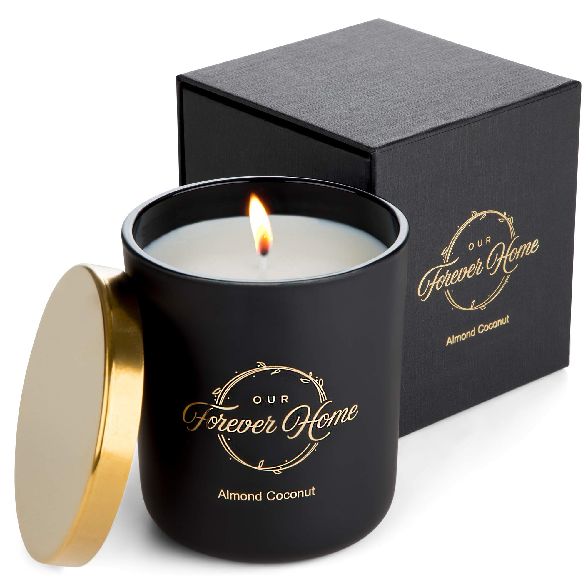 Our Forever Home Soy Jar Candle - 100% Natural Wax with Sweet Almond Coconut Fragrance, 10 oz - Luxury Scented Candles in Matte Black Glass Jar