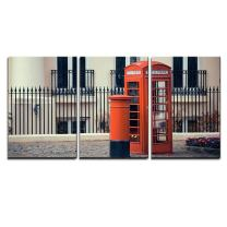"""wall26 - 3 Piece Canvas Wall Art - Red Telephone Booth and Mail Box in Street in London as The Famous Icons. - Modern Home Decor Stretched and Framed Ready to Hang - 16""""x24""""x3 Panels"""